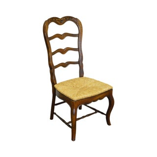 French Country Style Ladder Back Rush Seat Side Chair by Hickory For Sale