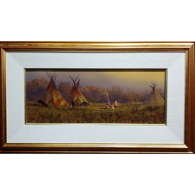 """Mark Geller -Panoramic View of Teepees in an Indian Camp -Oil painting oil painting on board -Signed frame size 24 x 12""""..."""