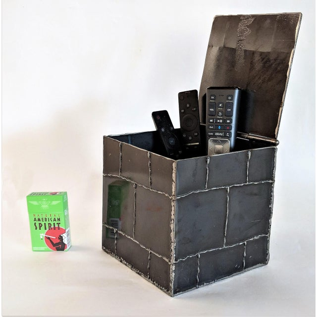 2010s Brutalist Metal Box Hand Welded Box For Sale - Image 5 of 12