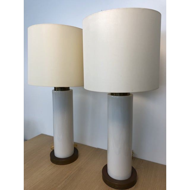 A pair of vintage table lamps originally purchased form Gregarious Penio early 2006, Beige glazed ceramic center with...