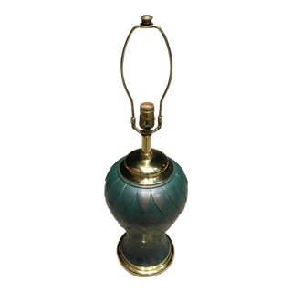 Asian Modern Feather Embossed Teal Brass Jar Lamp With Brass Ming Base For Sale