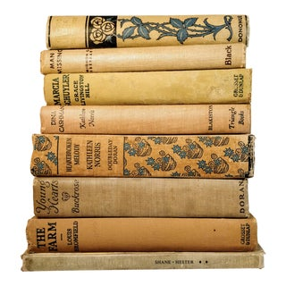 Vintage Tan Neutral Library Books - Set of 8 For Sale