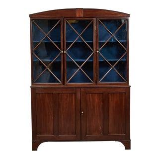 1780s English Hepplewhite Mahogany Bookcase For Sale
