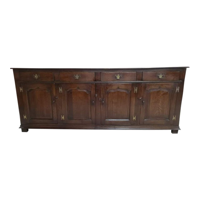 Early 20th C. French Country Oak Sideboard Credenza Buffet Server For Sale