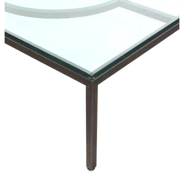Modern Rectangle Bronzed Frame Coffee Table For Sale - Image 4 of 5