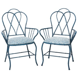 Pair of Chinoiserie Blue Faux Bamboo Metal Armchairs For Sale