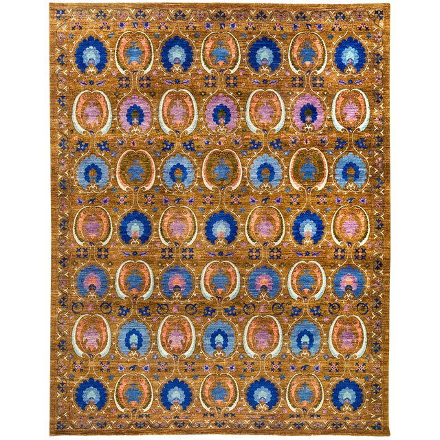 """Suzani Hand Knotted Area Rug - 9'3"""" x 11'7"""" For Sale - Image 4 of 4"""