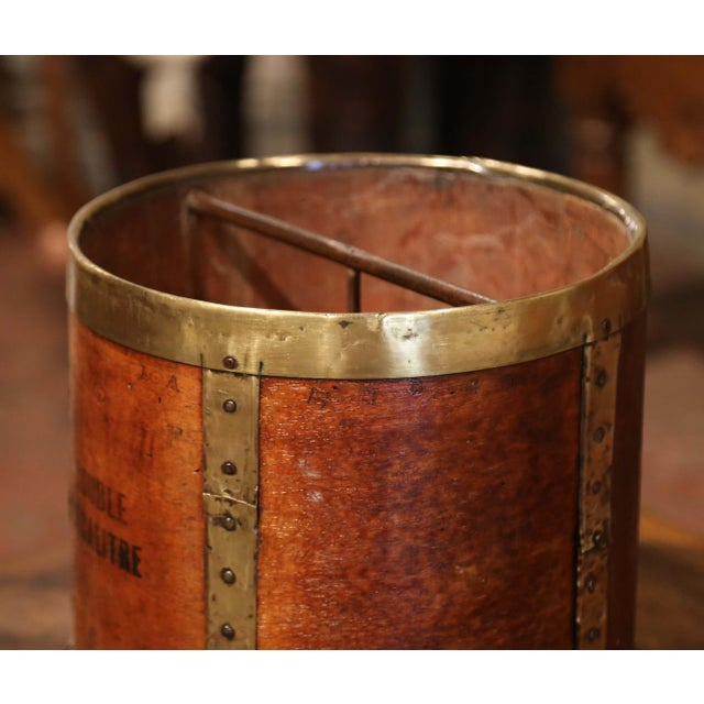 Metal 19th Century French Walnut, Brass and Iron Grain Measure Bucket or Waste Basket For Sale - Image 7 of 9