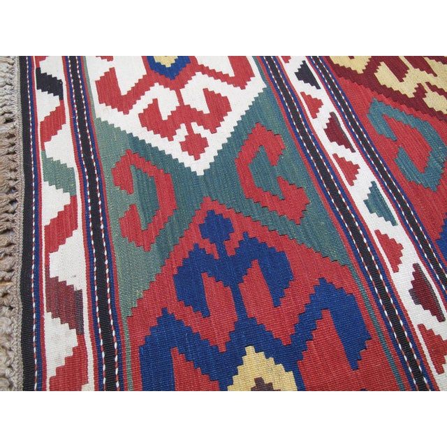 """""""Primary Colors,"""" Antique Kazak Kilim For Sale In New York - Image 6 of 10"""