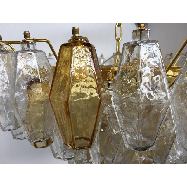 Glass Chandelier Murano Glass Poliedro Transparent and Gold and Amber For Sale - Image 7 of 13