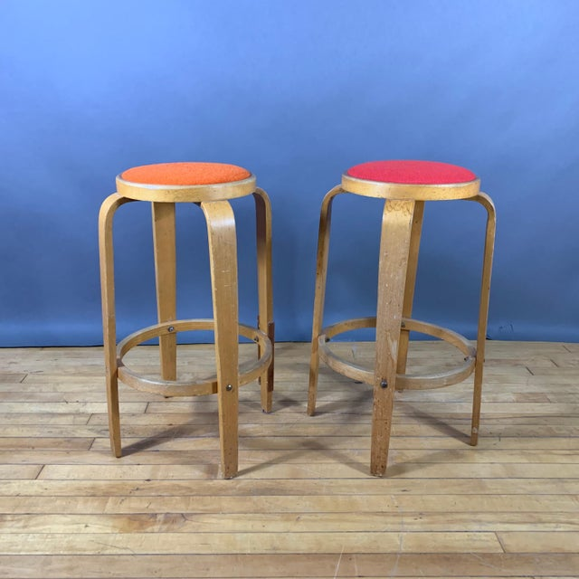 """Mid-Century Bentwood Birch 26"""" Stool, Wool Upholstery For Sale - Image 9 of 9"""