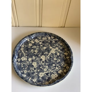 Vintage Blue & White Asian Blossom Metal Tray Preview