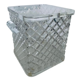 Vintage Faceted Lucite Faceted Ice Bucket For Sale