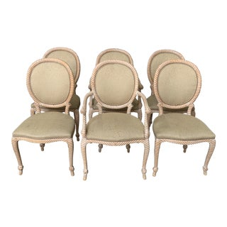 Vintage Italian Carved Rope Dining Chairs - Set of 6 For Sale