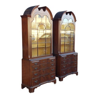 Schmieg & Kotzian Mahogany Elm Chippendale Block Front Glass Door China Cabinets - A Pair For Sale
