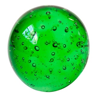 Vintage Green Art Glass Sphere Paperweight For Sale