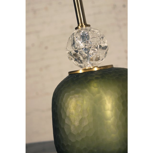 John Richard Green Glass & Crystal Buffet Lamp - Image 4 of 10