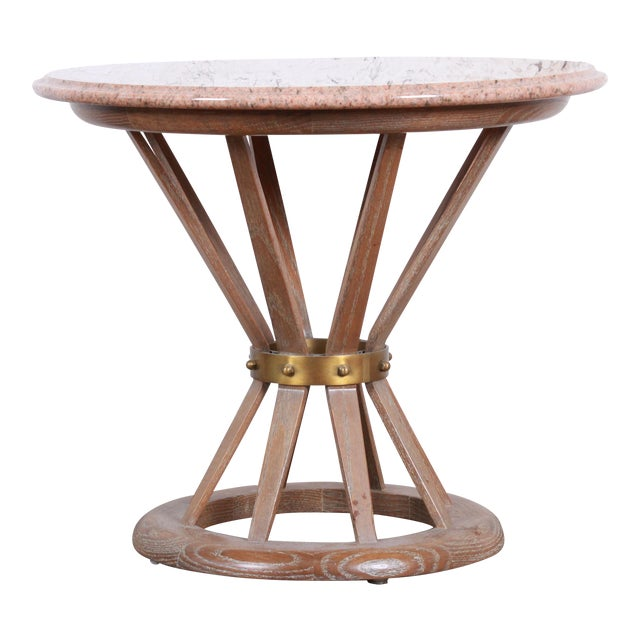 Edward Wormey for Dunbar Style Sheaf of Wheat Marble Top Side Table For Sale