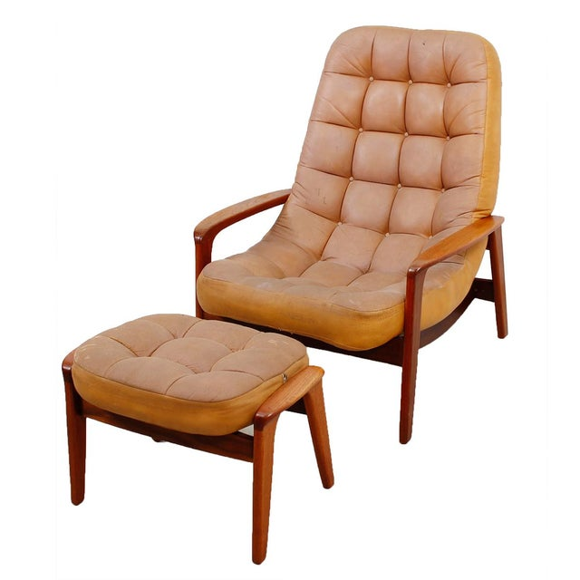 Leather Mid-Century Modern Lounge Chair & Ottoman - Image 1 of 9
