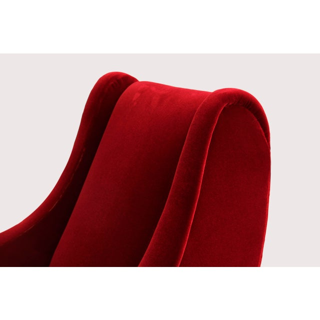 2010s Italian Style Sculptural Armchairs in Plush Red Velvet - a Pair For Sale - Image 5 of 6