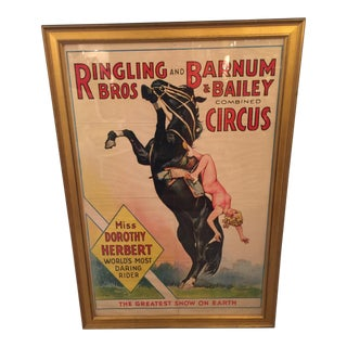 1934 Vintage Ringling Brothers Circus Poster For Sale