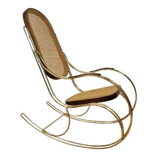 Mid Century Modern Thonet Style Gold Rocking Chair For Sale