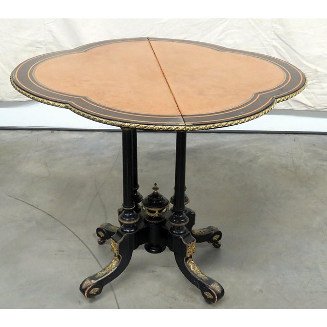 Black Louis Philippe Flip Top Card Table For Sale - Image 8 of 10
