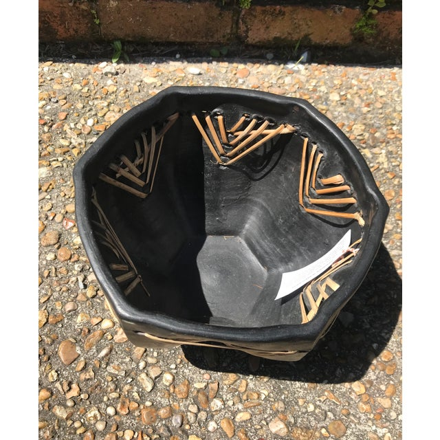 Beautiful vintage handmade clay bowl. Made in Bangladesh. Features an unusual star shape with straw detailing. Perfect to...