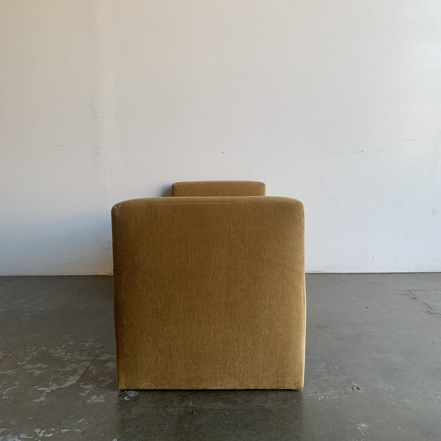 Textile Post Modern Bench- Mustard For Sale - Image 7 of 13