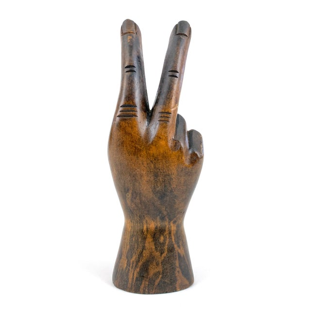 1970s Vintage Carved Wooden Hand Peace Sign For Sale In Philadelphia - Image 6 of 7