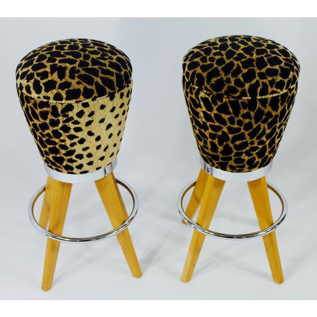 Leopard Skin Fabric & Maple Bar Stools- A Pair - Image 2 of 4