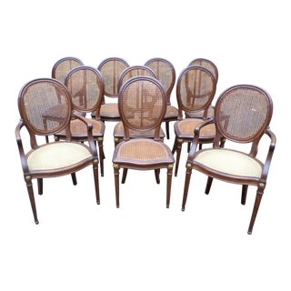 Set of 10 Louis XVI Style Dining Chairs, Signed Haentges Freres, Paris For Sale