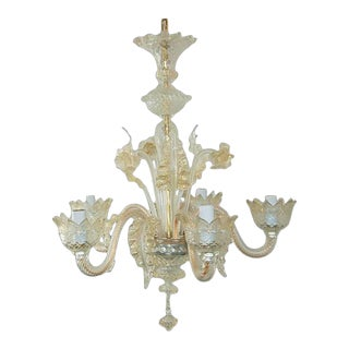 Chandelier Vintage Murano Glass Champagne Gold For Sale