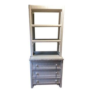 1980s Vintage Henry Link White Wicker Shelves For Sale