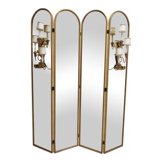 Antque Palladio Italian Venetian Glass Folding Screen Wall Mirror Gilt Sconces For Sale