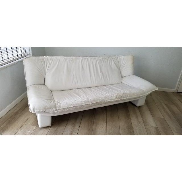 1980s Nicoletti Salotti Postmodern Italian Leather Sofa , Circa 1980's . For Sale - Image 5 of 13
