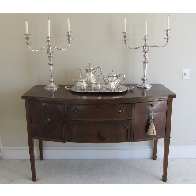 Antique Mahogany Credenza With Inlay - Image 3 of 10