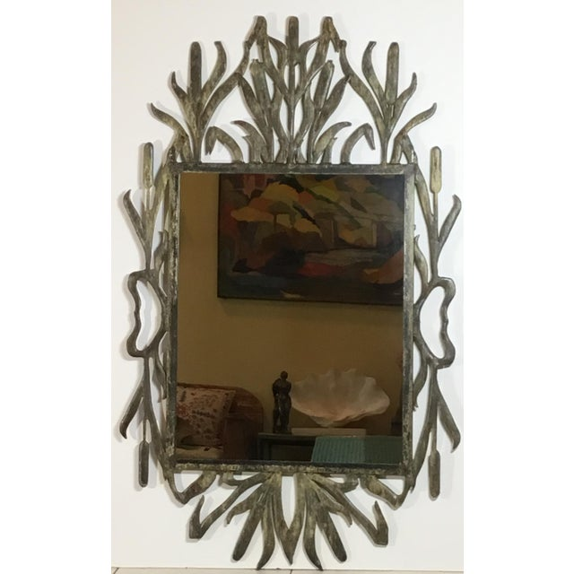 Abstract Hollywood Regency Iron Cat Tail Wall Mirror For Sale - Image 4 of 13