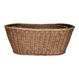 1960s French Oval Wicker Basket For Sale