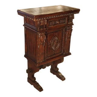 Small Antique Walnut Wood Renaissance Style Cabinet from Italy, Late 1800s