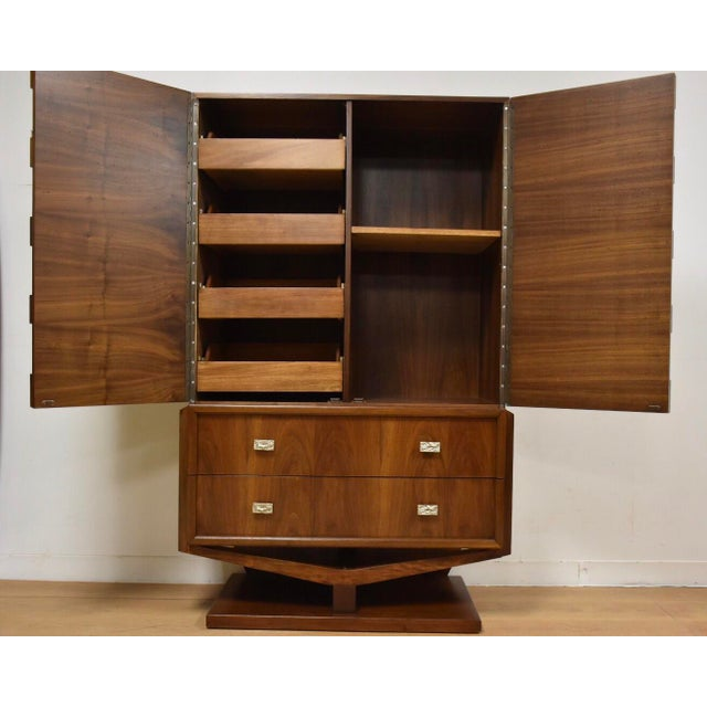 Brutalist Walnut Armoire - Image 3 of 11
