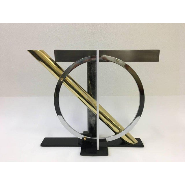 Gold Mixed Metals and Glass Console Table by Kaizo Oto for DIA For Sale - Image 8 of 9
