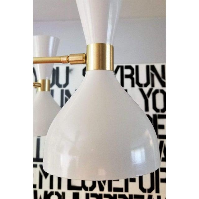 "Contemporary Blueprint Lighting Modern ""Ludo"" White Enamel & Brass Chandelier For Sale - Image 3 of 5"