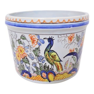 Vintage Tiffany & Co. Majolica Hand Painted Cachepot For Sale