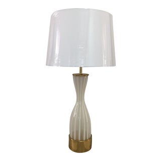 Italian Modern Glass and Brass Table Lamp For Sale