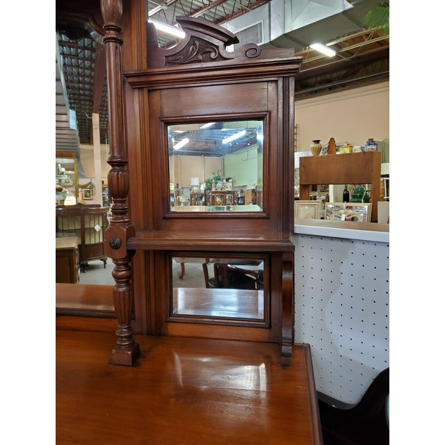 Early 20th Century Early 20th Century Antique Hutch With Beveled Mirrors For Sale - Image 5 of 12