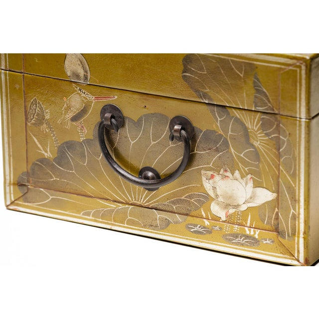 Metal Hand-Painted Lotus Scene Chartreuse Leather Box on Patinated Brass Stand as Side Table by Lawrence & Scott For Sale - Image 7 of 13