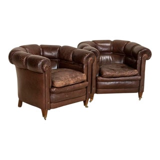 Vintage Leather Barrel Arm Chairs Club Chairs - a Pair For Sale