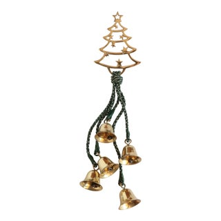 Brass Christmas Tree & Bells Door Hanging For Sale