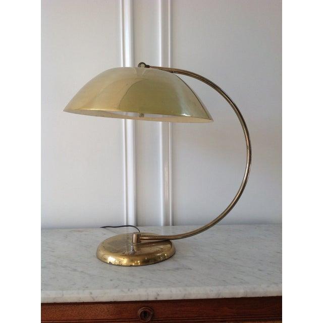 Mid-Century Brass Flying Saucer Desk Lamp - Image 2 of 5